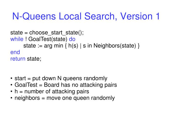 N-Queens Local Search, Version 1