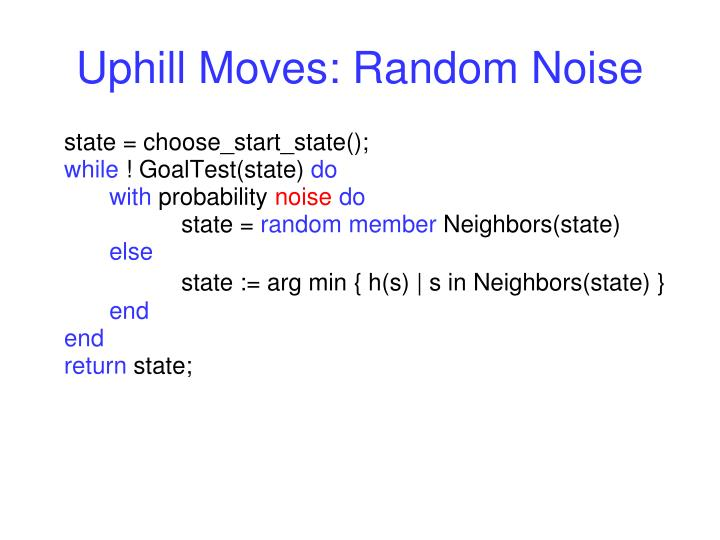 Uphill Moves: Random Noise