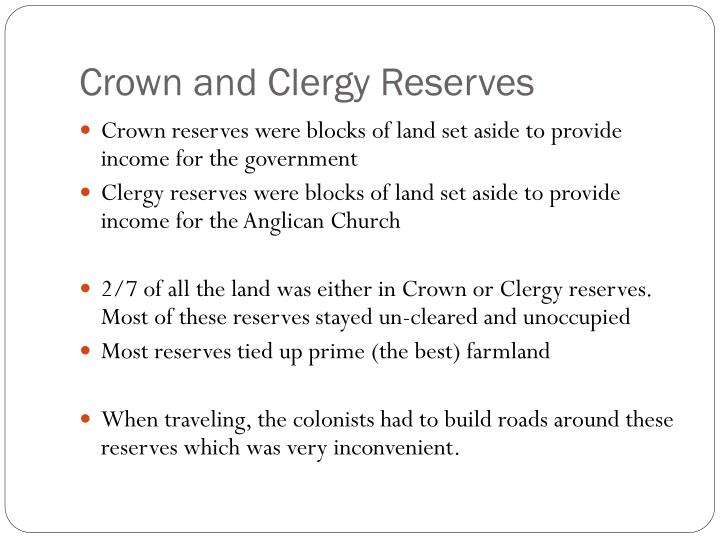 Crown and Clergy Reserves