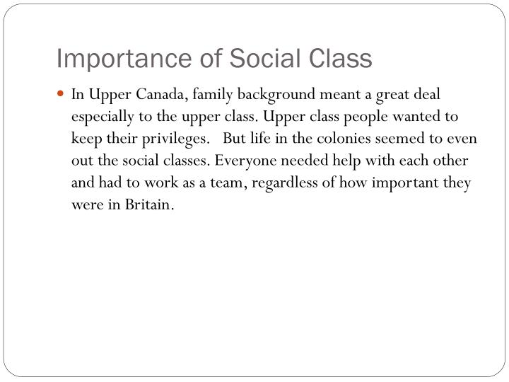 Importance of Social Class