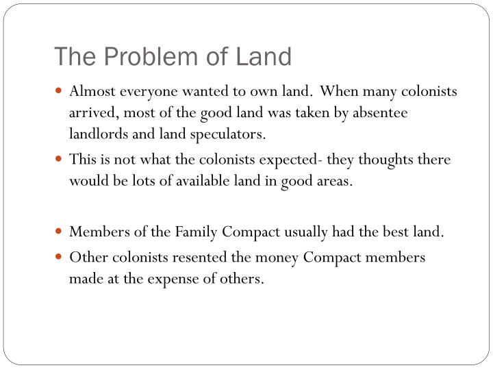 The Problem of Land