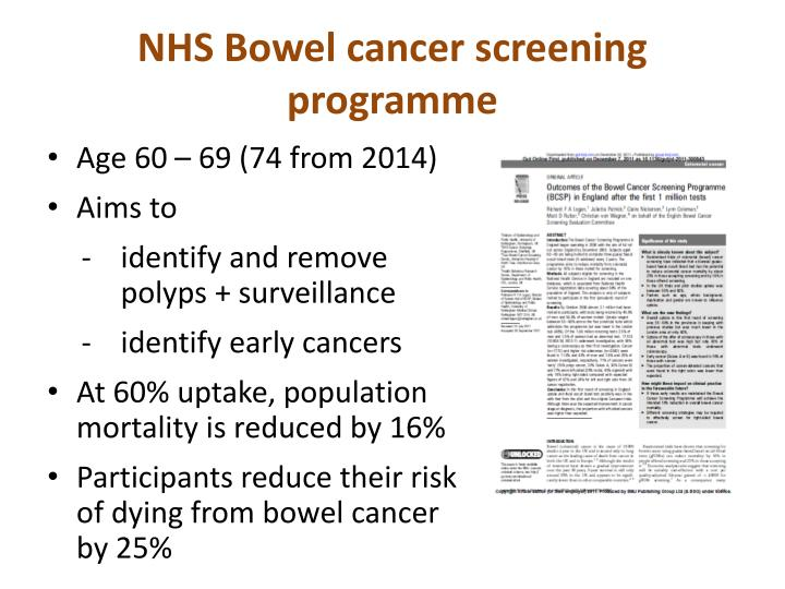 Nhs bowel cancer screening programme