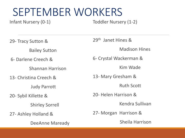 SEPTEMBER WORKERS