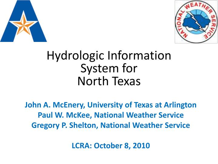 Hydrologic information system for north texas
