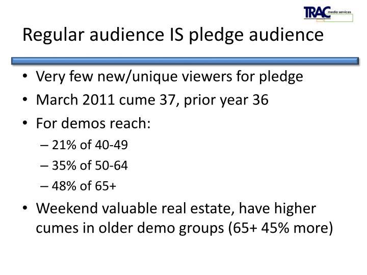 Regular audience IS pledge audience