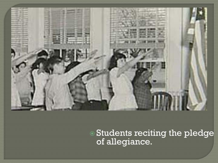 Students reciting the pledge of allegiance.