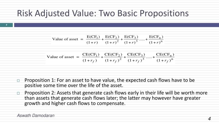 Risk Adjusted Value: Two Basic Propositions
