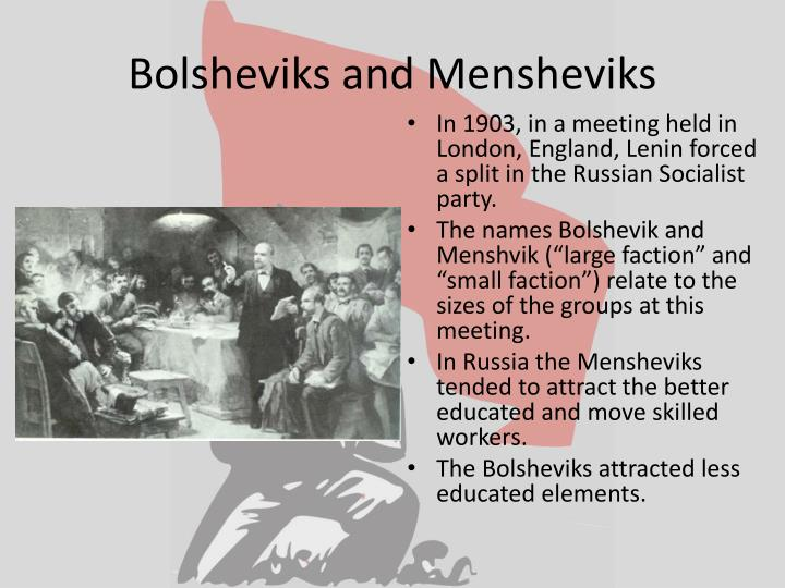 Bolsheviks and Mensheviks