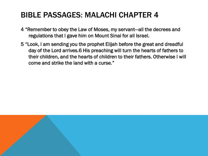 Bible passages: Malachi Chapter 4