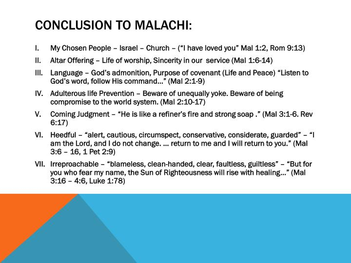 Conclusion to Malachi: