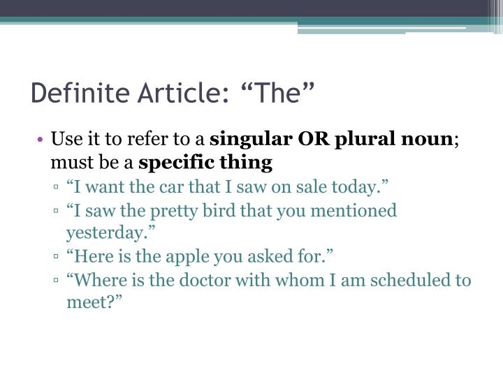 "Definite Article: ""The"""