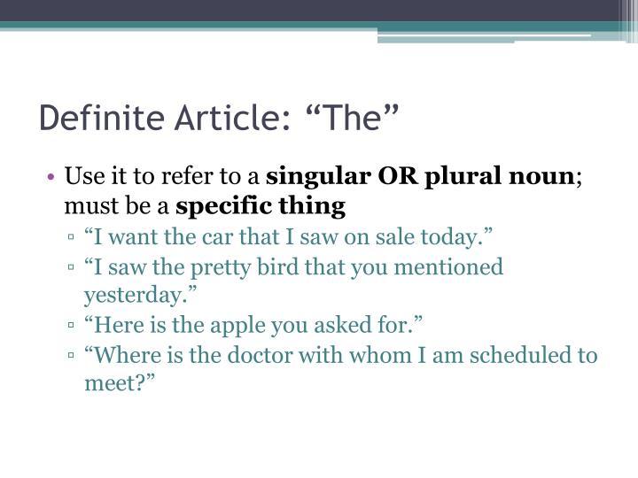 """Definite Article: """"The"""""""