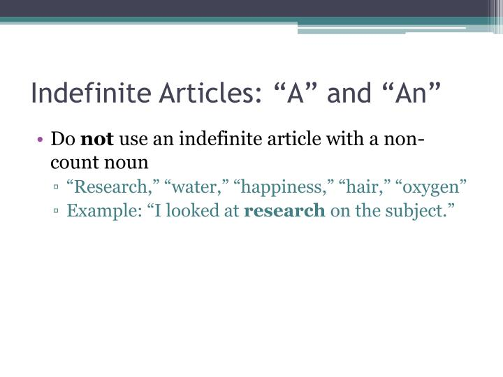 Indefinite articles a and an1