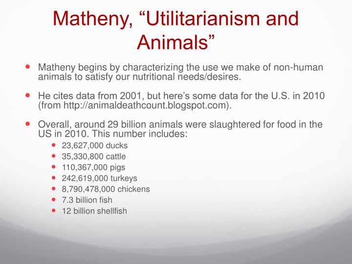 "Matheny, ""Utilitarianism and Animals"""