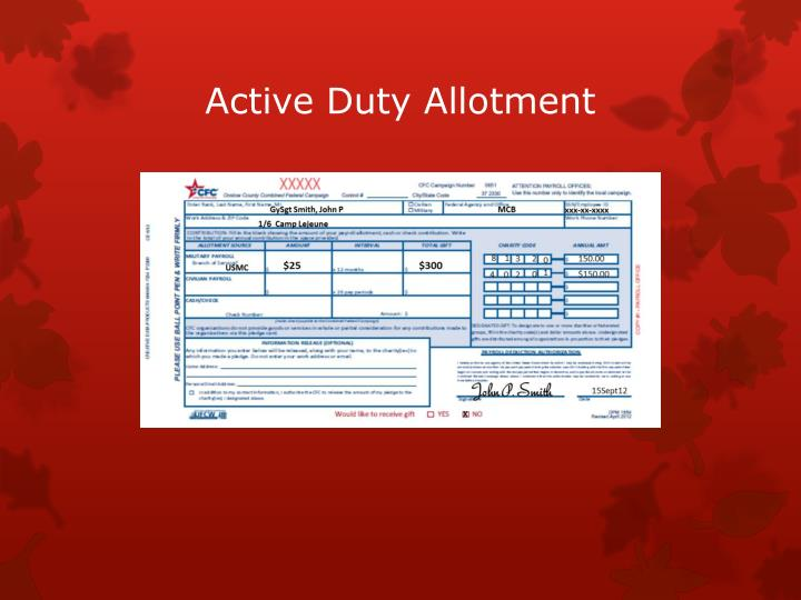 Active Duty Allotment