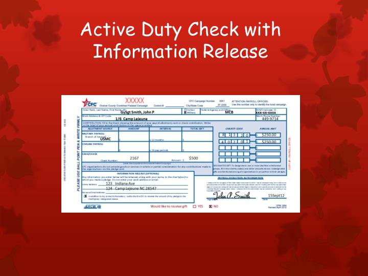 Active Duty Check with Information Release