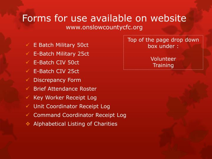 Forms for use available on website