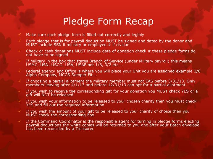 Pledge Form Recap