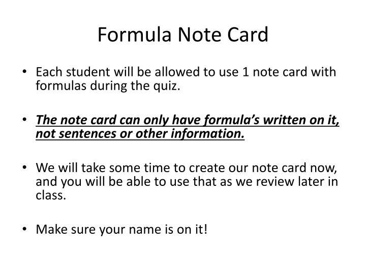 Formula Note Card
