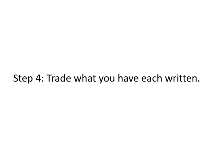 Step 4: Trade what you have each written.