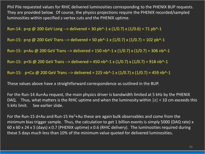 Phil Pile requested values for RHIC delivered luminosities corresponding to the PHENIX BUP requests.
