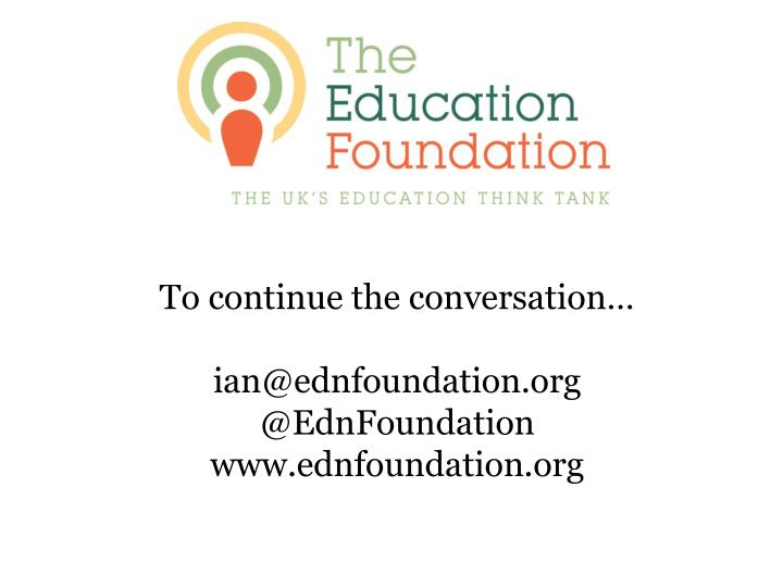 To continue the conversation…