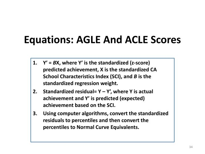 Equations: AGLE And ACLE Scores