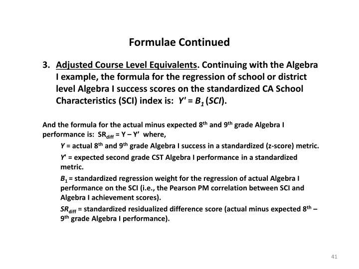 Formulae Continued