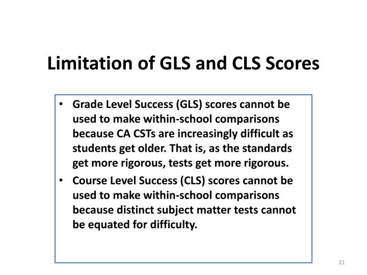 Limitation of GLS and CLS Scores