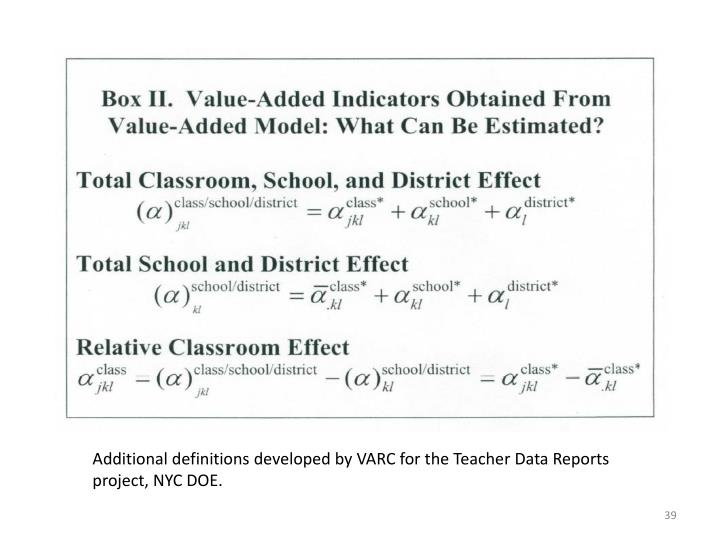 Additional definitions developed by VARC for the Teacher Data Reports project, NYC