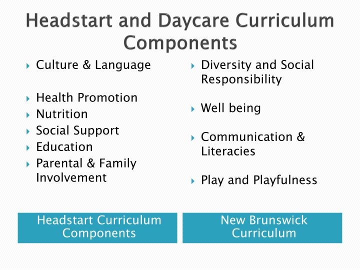 Headstart and Daycare Curriculum Components