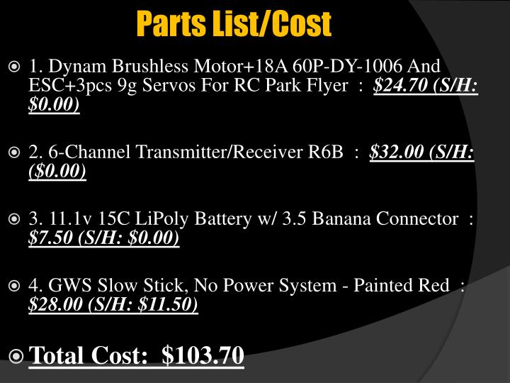 Parts List/Cost
