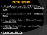 parts list cost