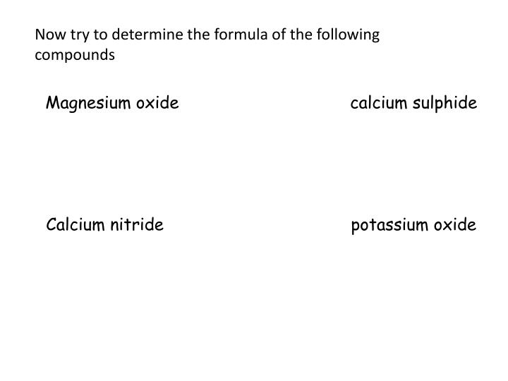 Now try to determine the formula of the following compounds