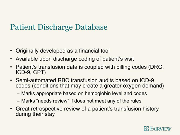 Patient Discharge Database
