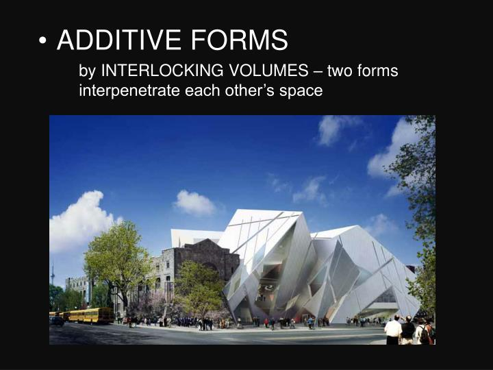 by INTERLOCKING VOLUMES – two forms interpenetrate each other's space