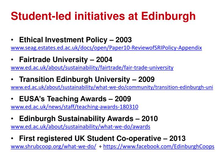 Student-led initiatives at Edinburgh