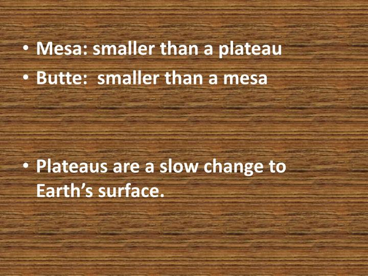 Mesa: smaller than a plateau