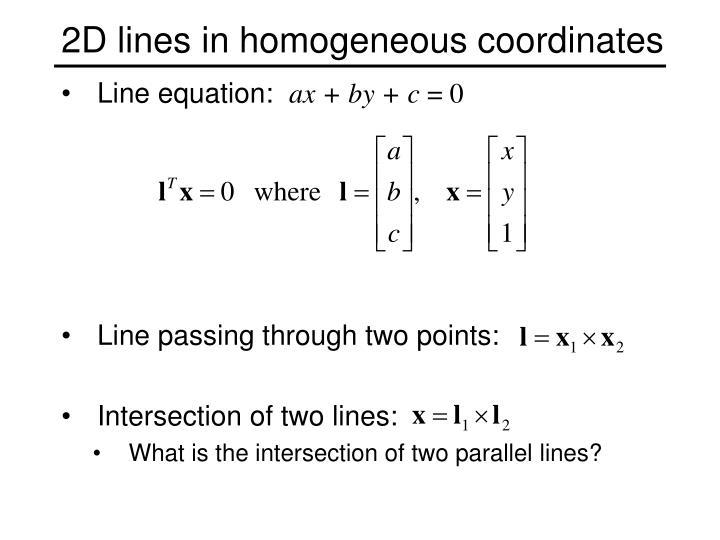 2D lines in homogeneous coordinates