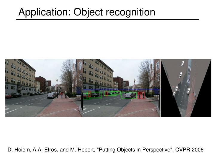 Application: Object recognition