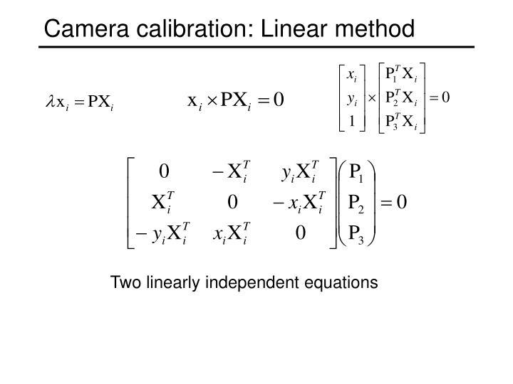 Camera calibration: Linear method