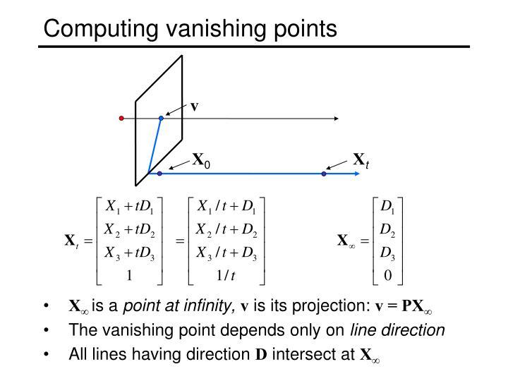 Computing vanishing points