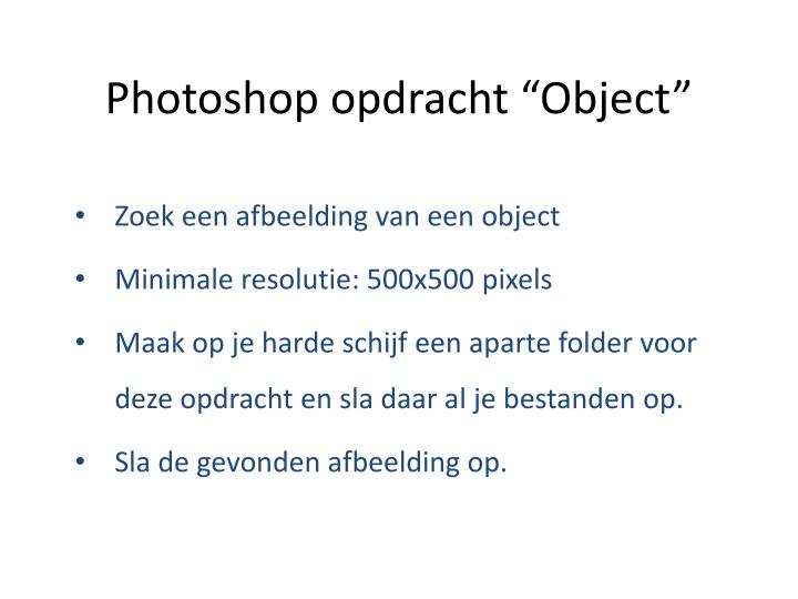 photoshop opdracht object