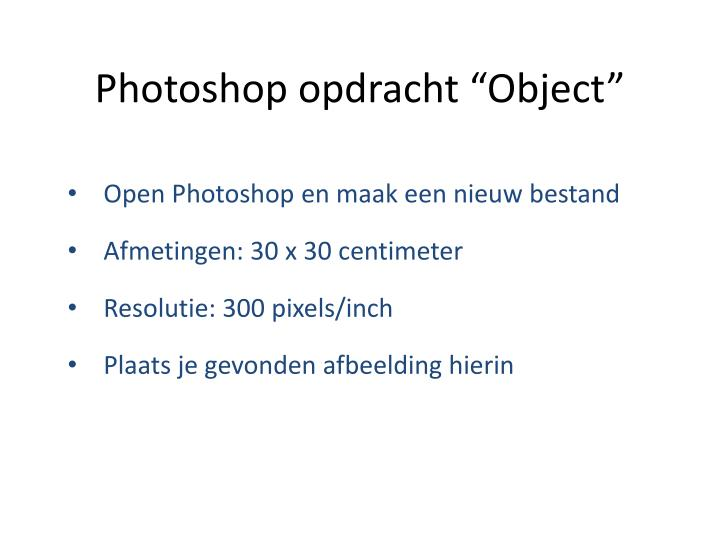 Photoshop opdracht object1