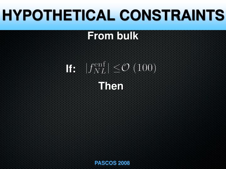 HYPOTHETICAL CONSTRAINTS