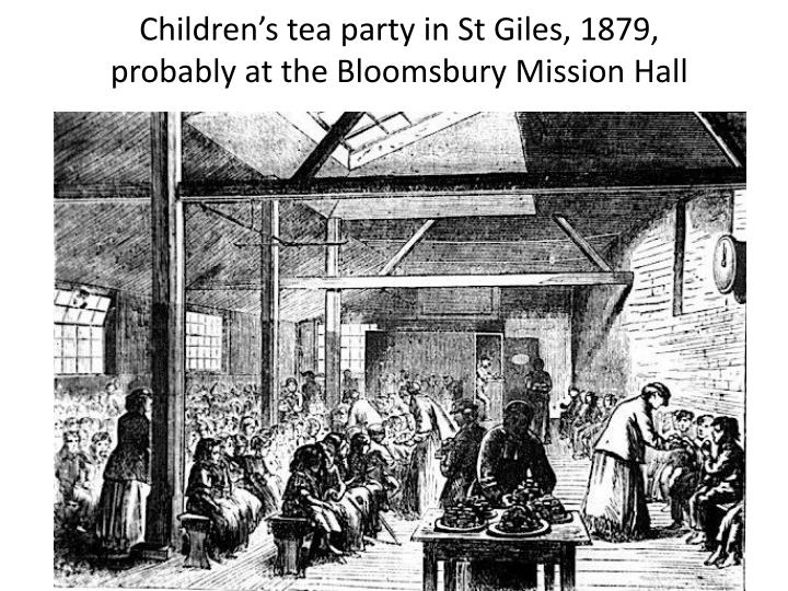 Children's tea party in St Giles, 1879,