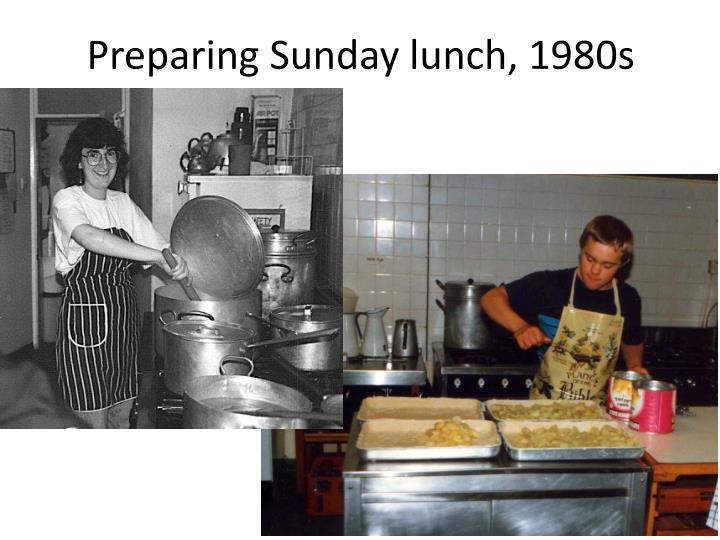 Preparing Sunday lunch, 1980s