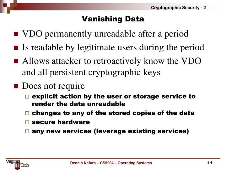 Vanishing Data
