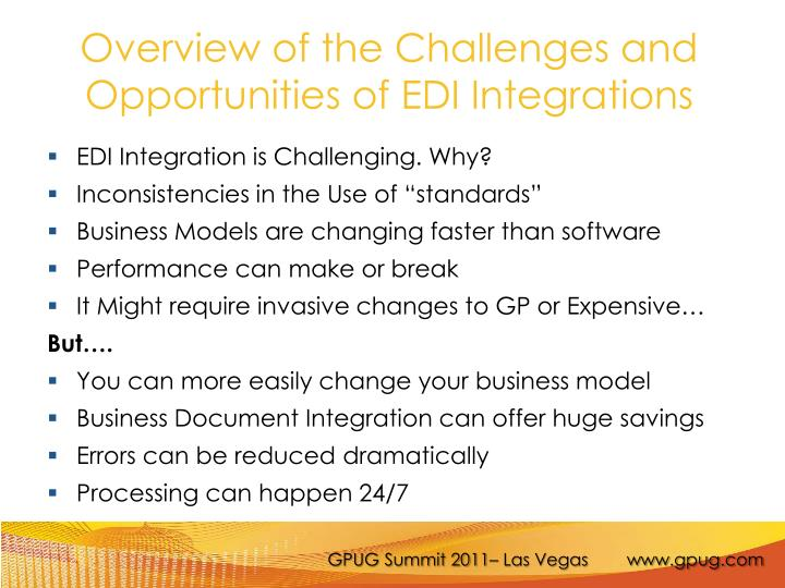 Overview of the Challenges and Opportunities of EDI Integrations