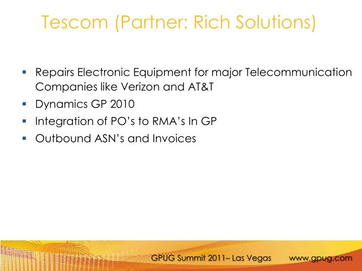 Tescom (Partner: Rich Solutions)